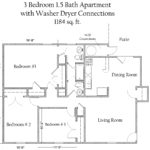 3 Bedroom 1.5 Bath Apartment with Washer/Dryer Connections